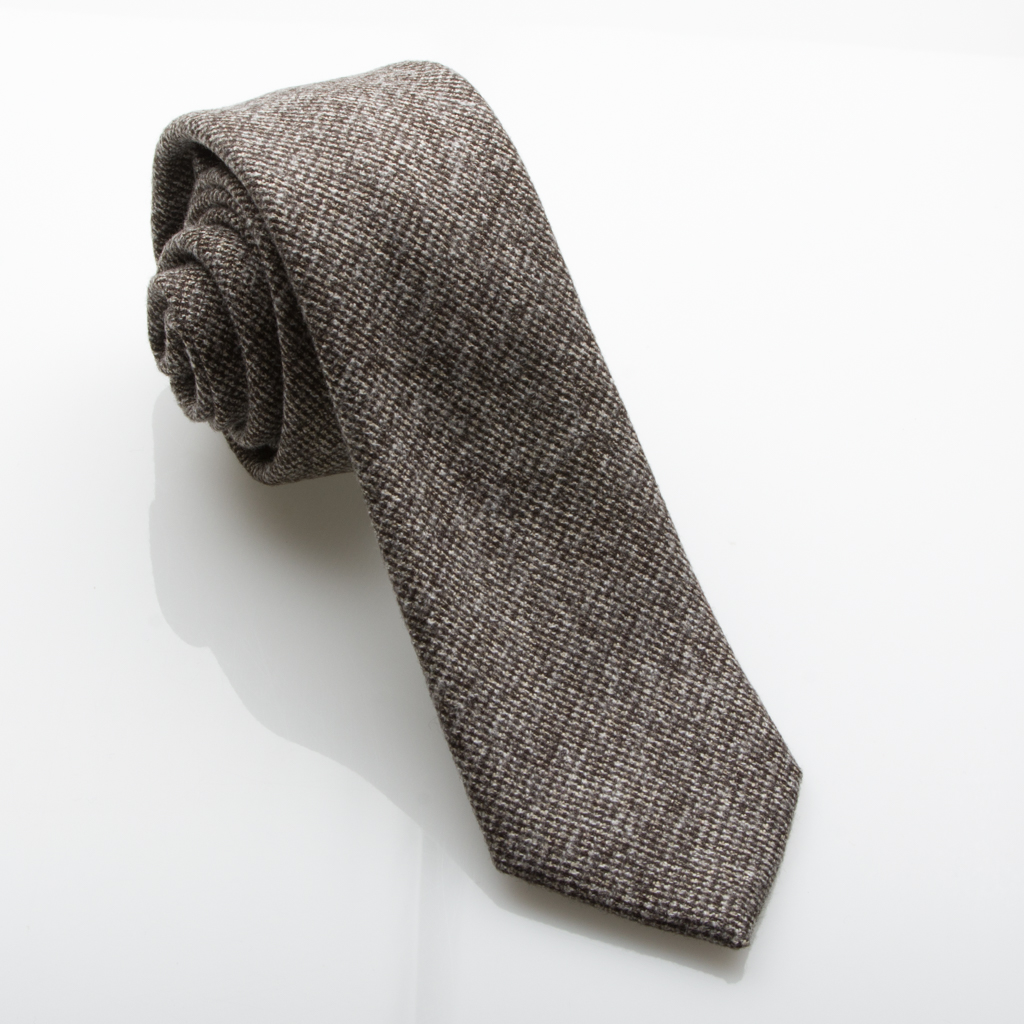 Fisk of Oslo Brown and Beige Dog Tooth Check Wool Effect Tie with 7cm Blade Width